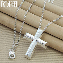 DOTEFFIL 925 Sterling Silver 18 Inch Chain Cross Pendant Necklace For Woman Fashion Wedding Engagement Party Charm Jewelry