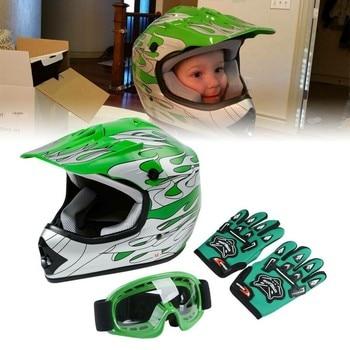 Motorcycle Youth Kids Helmet Green Flame Dirt Bike ATV Motocross Helmet MX+Goggles+Gloves capacete moto Gifts full face kask 1