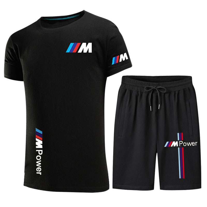 2021 new hot sale BMW printed T-shirt sports suit couple quick-drying casual running wear summer short-sleeved shorts 2-piece se