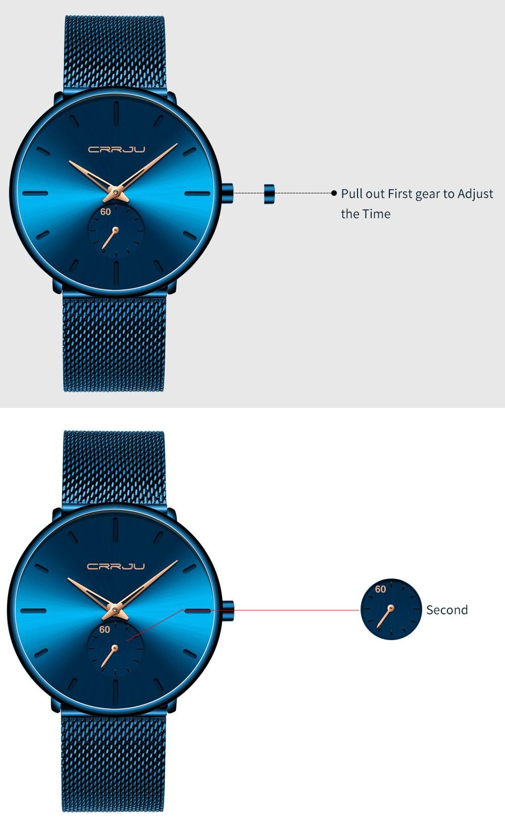 H78dc3c1c890e45878a42200c4932940aE CRRJU Ultra Thin Blue Stainless steel Quartz Watches Men Simple Fashion Business Japan Wristwatch Clock Male Relogio Masculino