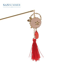 Sansummer 2019 New Hot Fashion Vintage Style Red Tassel Pendant Water drop Charm Ethnic Hairpin For Women Jewelry