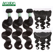 Human Hair Bundles With Closure 4 Brazilian Body Wave with Frontal Remy AirCabin