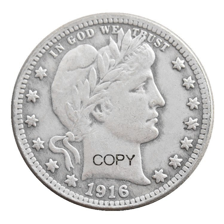 Us 1916 p/d barbeiro trimestre dólares prata chapeado cópia moeda