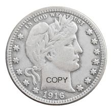 US 1916 P/D Barber Quarter Dollars posrebrzane kopiuj monetę