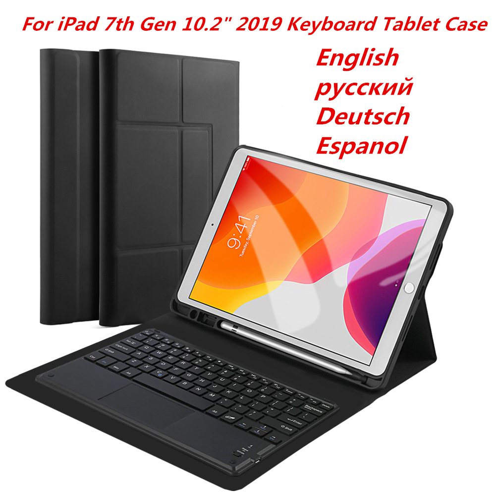 Bluetooth Keyboard For IPad 7th Generation 10.2 Inch 2019 Tablet Case Magnetic Detachable Keyboard PU Leather Flip Stand Case