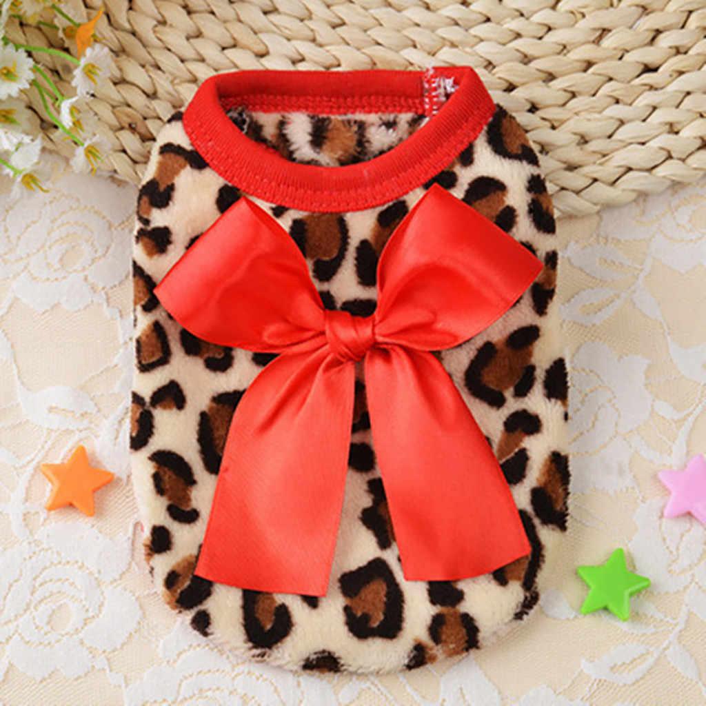 Праздничный жилет для животных из кораллового флиса с леопардовым принтом, осенне-зимняя одежда для собаки с котом, зимний Французский бульдог домашнее животное, одежда для собак