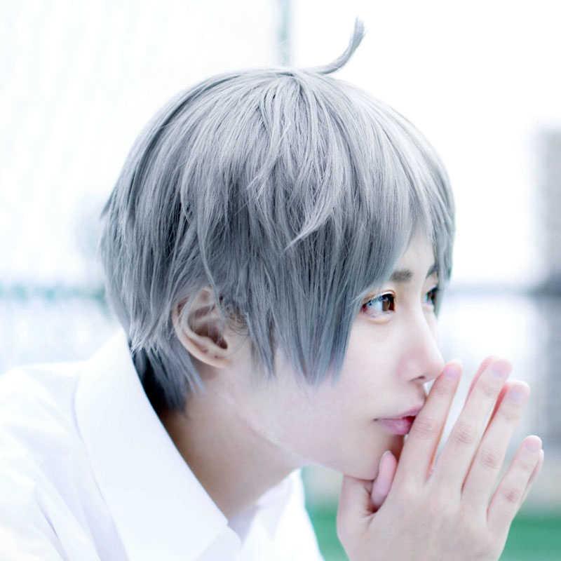 Haikyuu-!! Perruque de kushi Sugawara, perruque pour Costume de Cosplay de volley-ball, cheveux courts et gris Beige résistants à la chaleur + bonnet de perruque