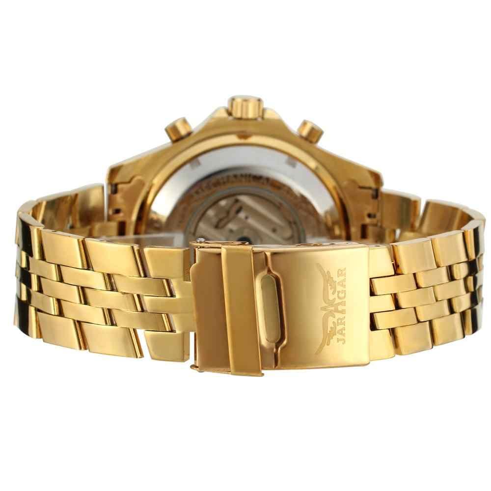 Jaragar メンズ腕時計メカニカル黄金日ビジネスファッション鋼バンドスポーツ腕時計自動自己風レロジオ