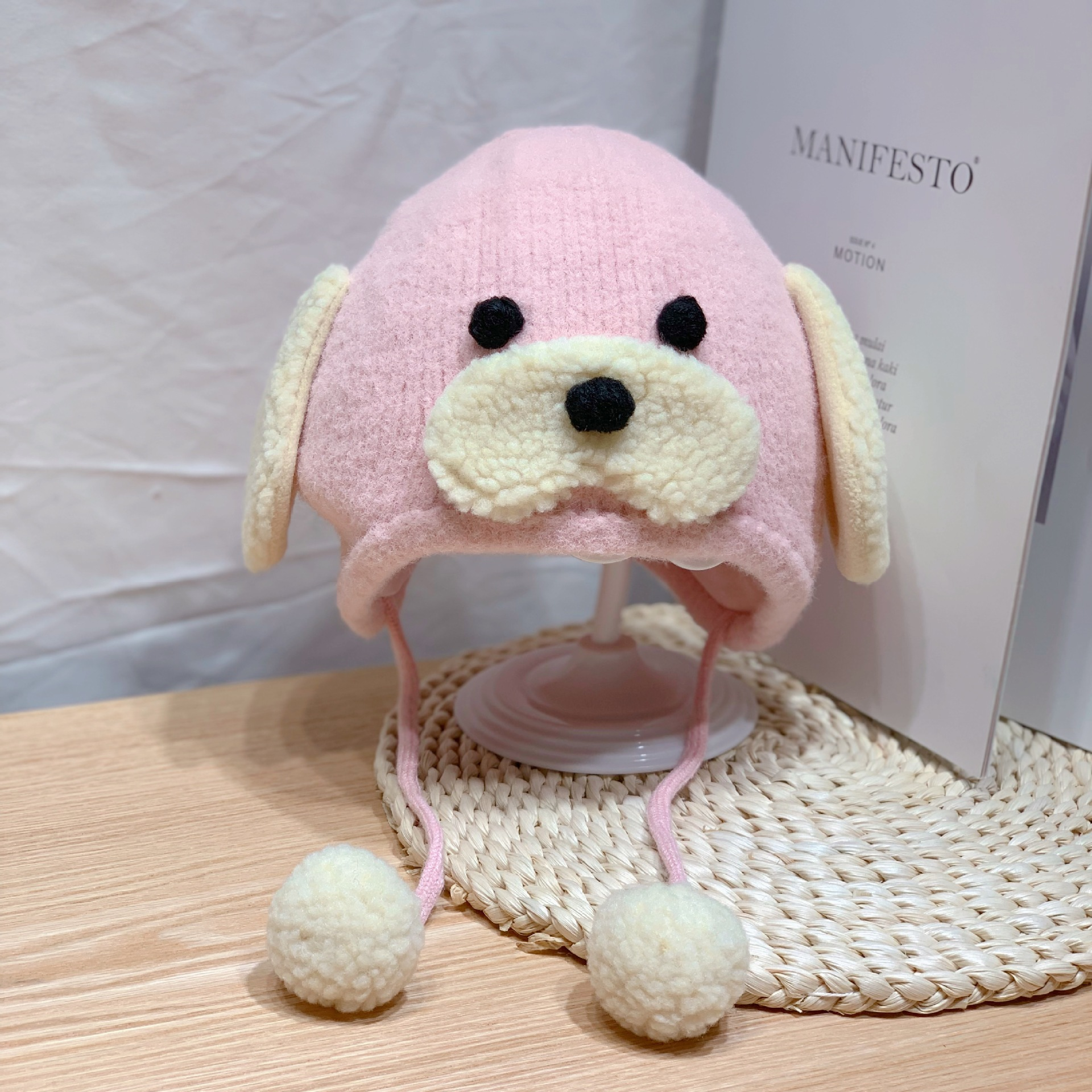 Autumn and winter new pure color dog hair ball Plush earmuff baby cartoon warm hat cubs  toddler hat