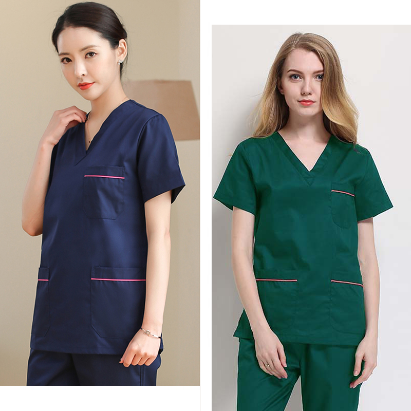 Women's Scrub Sets Pure Cotton/Polyester Cotton Classic V-neck Top + Pants Color Blocking Nurse Scrub Uniform Surgery Clothing