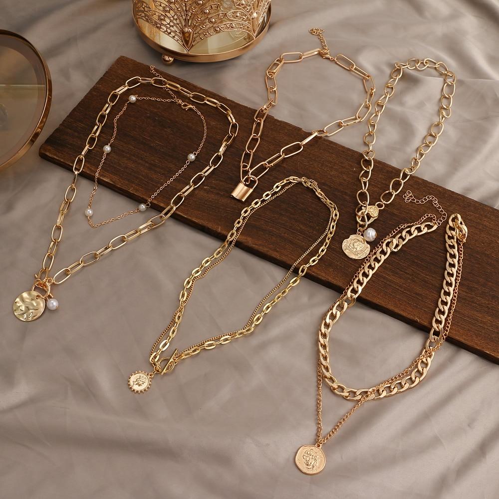 Женское винтажное ожерелье ZOVOLI, длинная цепочка с подвеской в виде многослойной портретной жемчужной и круглой монеты в богемном стиле с зо...