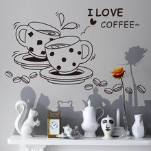 3D Coffee Cup Waterproof Wall Sticker Kitchen Removable I Love Coffee Home Art Wall Sticker Cartoon Decals Decor 40X42cm F1210(China)