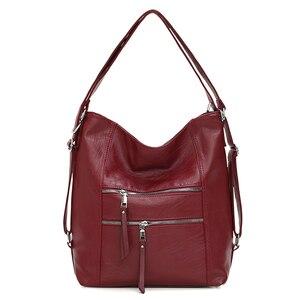 Image 1 - Женские кожаные сумки 3 в 1, высококачественные модные сумки через плечо, винтажные повседневные сумки тоут, женские дизайнерские сумки мессенджер