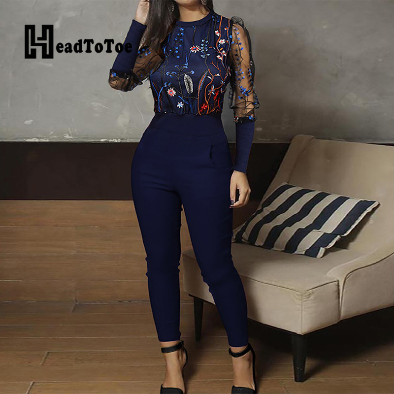 Mesh Floral Embroidery Jumpsuit Casual One Piece Overalls Long Sleeve Skinny Rompers Women Jumpsuits
