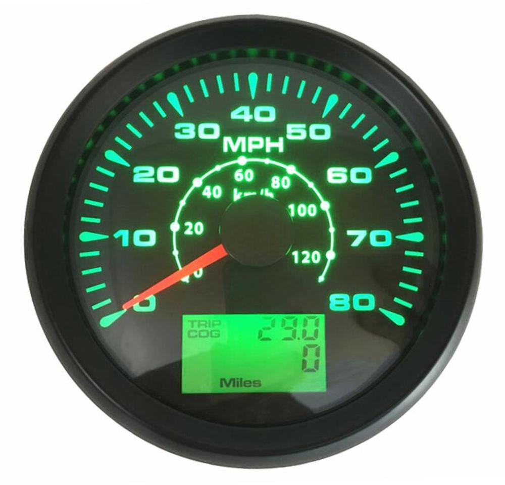 1 Pc 85 Mm Gps Snelheidsmeters 0-80MPH Auto Gps Speed Kilometerstand Trip Gauge Cog 0-120Km Kilometer Apparaat met 8 Soorten Backlight Kleur