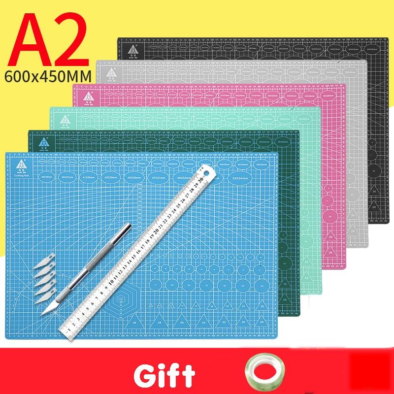 A2 placa de corte grade linha auto-cura placa de corte ofício cartão multicolorido dupla face desktop almofada de corte manual 60*45cm