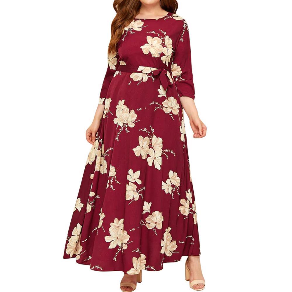 Vestido Casual con estampado de flores de manga larga para Mujer Vestidos de invierno Ropa de Mujer para fiesta de noche para Mujer Jurken talla grande 5XL
