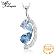лучшая цена JewelryPalace 1ct Natural Sky Blue Topaz and London Blue Topaz Cluster Pendant 925 Sterling Silver Jewelry Not Include a Chain