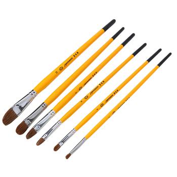 6 sztuk szczotki do włosów łasica gwasz pędzle malarskie pędzle akwarelowe pędzle drewniane pędzle malarskie tanie i dobre opinie FH2015256 Rysunek Przechowywania Rolki i Torby BAMBOO orange 30 5cm 12 01in 131g wood