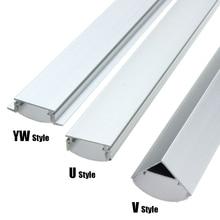 30/45/50Cm U/V/Yw Stijl Vormige Led Bar Lichten Aluminium Kanaal Houder Melk cover End Up Voor Led Strip Licht Accessoires