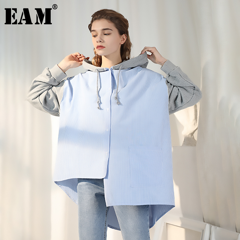 [EAM] Loose Fit Asymmetrical Striped Big Size Sweatshirt New Hooded Long Sleeve Women Big Size Fashion Spring Autumn 2020 JY0970