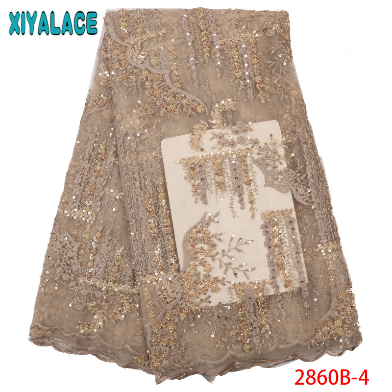 2019 African Lace Fabric High Quality Embroidery  Laces French Net Lace Fabric With Beads Sequins For Wedding Dresses KS2860B-4