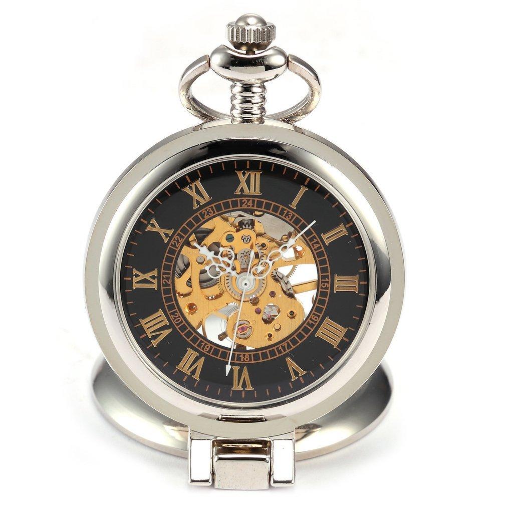 Retro Fashion Silver Black Magnifier Case Mechanical Hand Winding Men Roman Analog Chain Gift Clock Pendant Pocket Watch/ WPK023