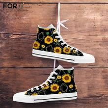 FORUDESIGNS Yellow Flower Sunflower Printing Woman High Top Canvas Shoe