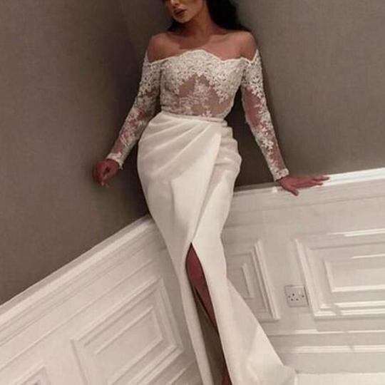 SuperKimJo Lace Applique Mermaid Evening Dresses Long Sleeve Beaded Elegant White Evening Gown Formal Dress Robe De Soiree