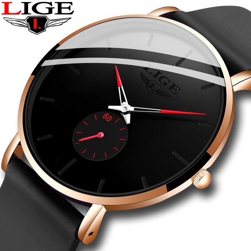 2020 LIGE New Quartz Watches For Men Silicagel Strap Male Sport Wristwatch Top Luxury Brand Simple Clock Men Watch Reloj Hombres