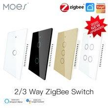 Tuya ZigBee Wand Touch Smart Licht Schalter Mit Neutral/Keine Neutralen, keine Kondensator Smart Leben/Tuya Arbeitet mit Alexa,Google 2/3 Weg