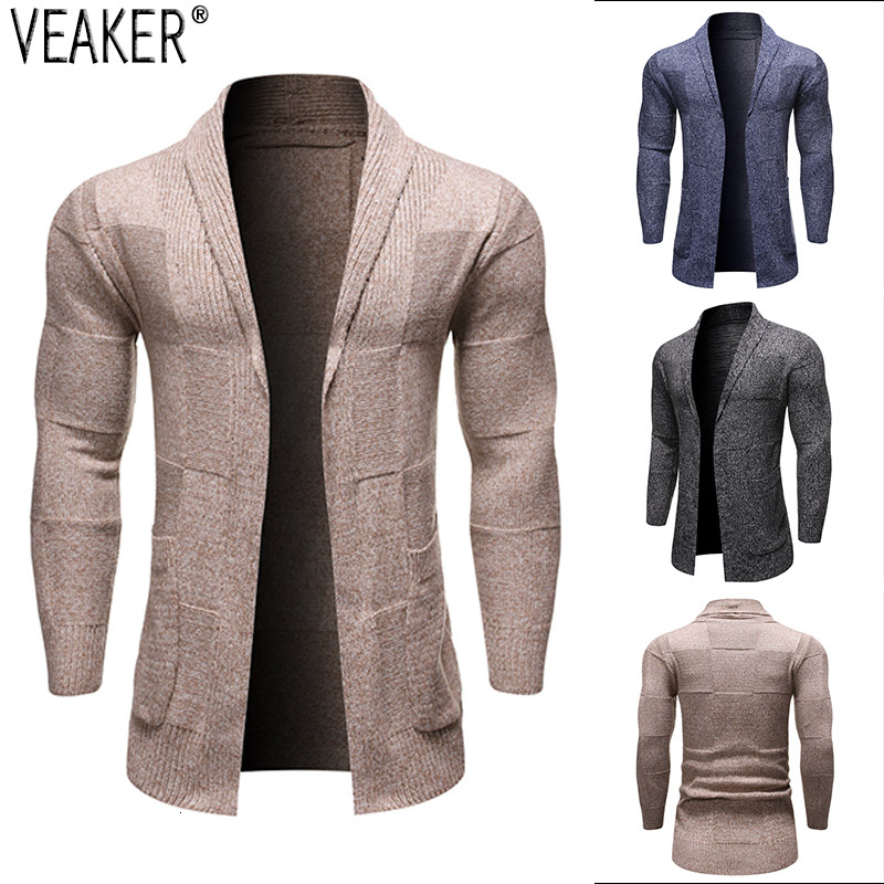 2019 Autumn New Men's Slim Fit Long Cardigan Sweater Male Casual Knitted Cardigan Sweaters Knitwear M-2XL