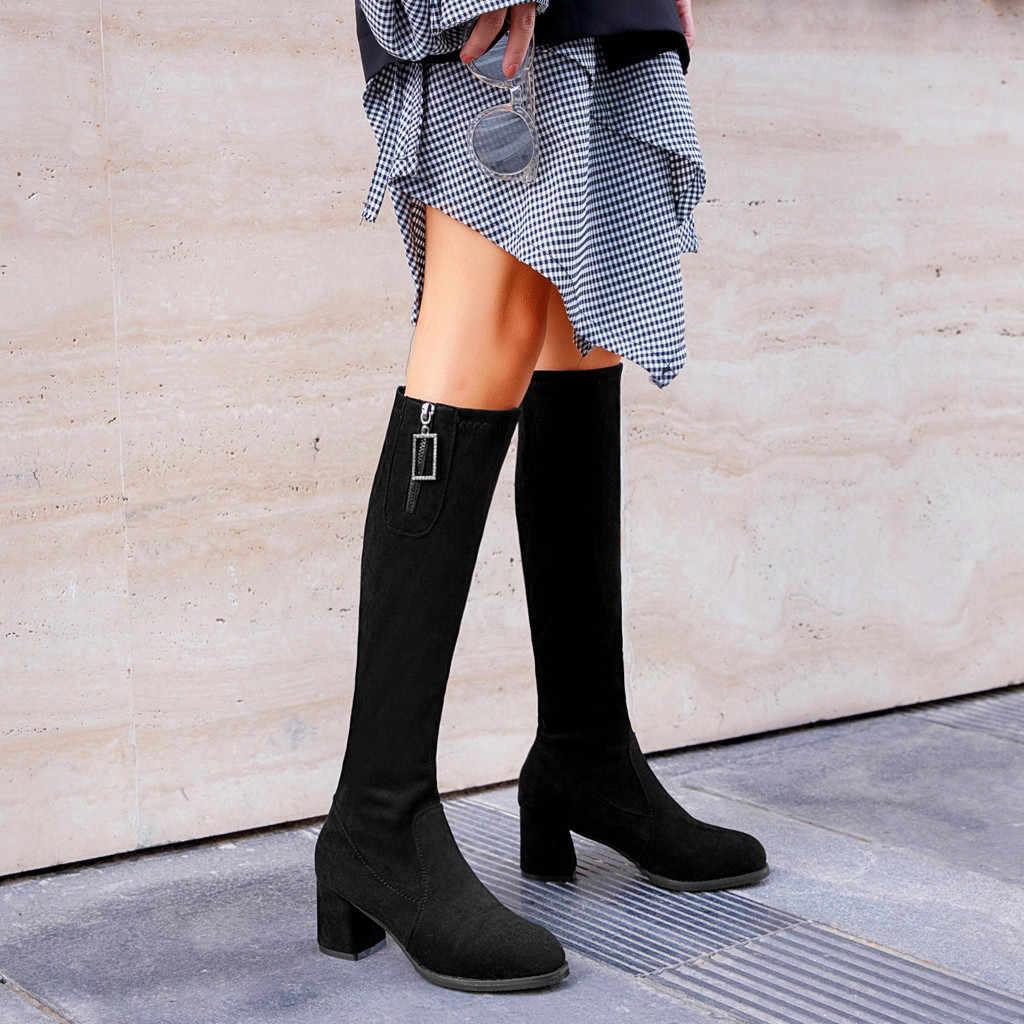 Kadın botları rahat deri düşük yüksek topuklu süet ayakkabı kadın dizler üzerinde kalın yarım çizmeler yarım çizmeler büyük boy Zapatos Mujer