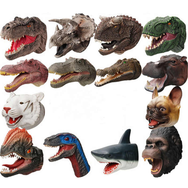 14スタイルソフト人形dinosaureハンドパペットフィギュアヘッド動物アーム恐竜のおもちゃストーリーギフト子供モデル世界