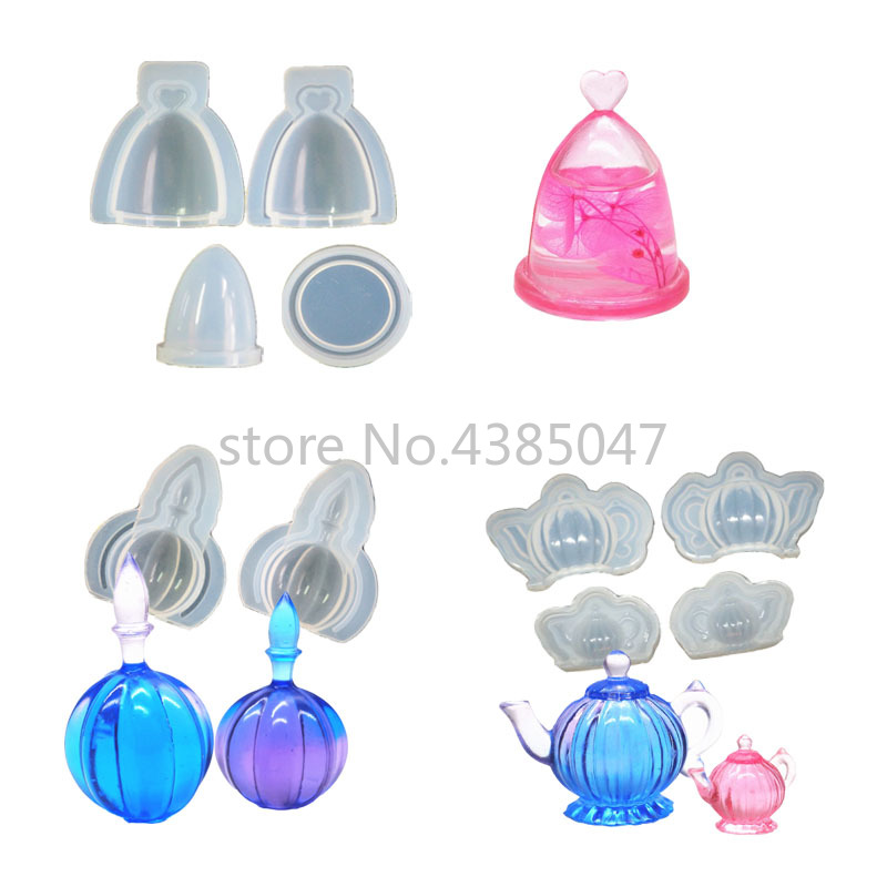 3D Teapot Pumpkin Bottle Hollow Glass Cover DIY Silicone Jewelry Tools For Making Pendant Resin Casting Mould Handcraft Tool
