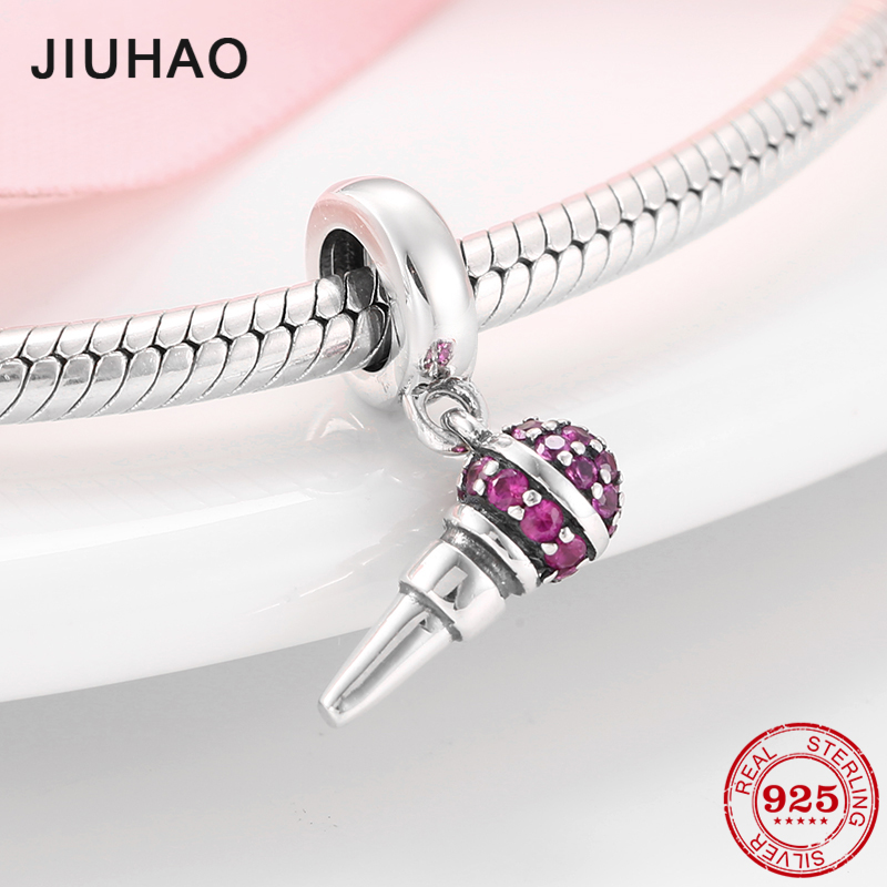 NEW 925 Sterling Silver Microphone Shape Pink CZ Beads Fit Original Pandora Charms Bracelet Bangles DIY Jewelry Making