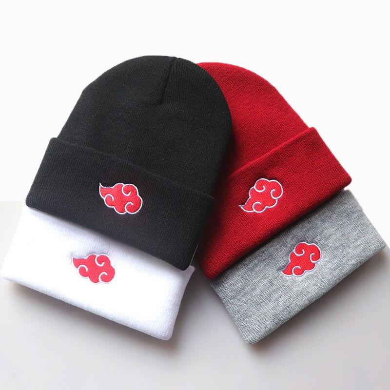 Sombrero de Naruto Cosplay de Akatsuki, bordado sombrero de punto de nube roja, gorro de lana, Otoño Invierno, Unisex