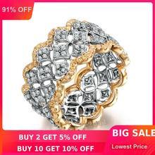 Choucong Pave набор 220 шт AAAAA Циркон cz розовое золото 925 пробы серебро обручальное кольцо для женщин