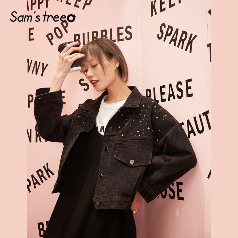 SAM'S TREE Blue Solid Beaded Cowboy Oversive Women Jacket 2020 Spring Black Korean Long Sleeve Casual Ladies Daily Short Coats