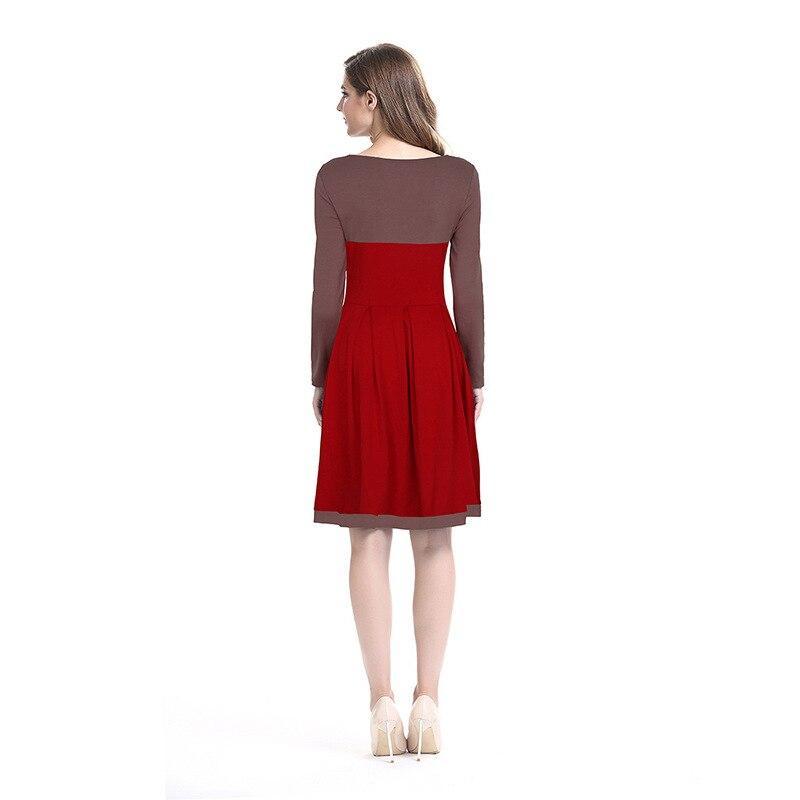 Frau kleidung OWLPRINCESS frauen 2019 neue stricken patchwork kleid v ausschnitt langarm kultivieren - 2