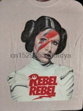 David Bowie принцесса Лея Rebel футболка повстанца белая рубашка