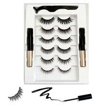 6 Pairs Reusable Magnetic Eyelashes and Eyeliner Kit,No Glue Silk False Eye Lashes,Natural Look with Tweezers