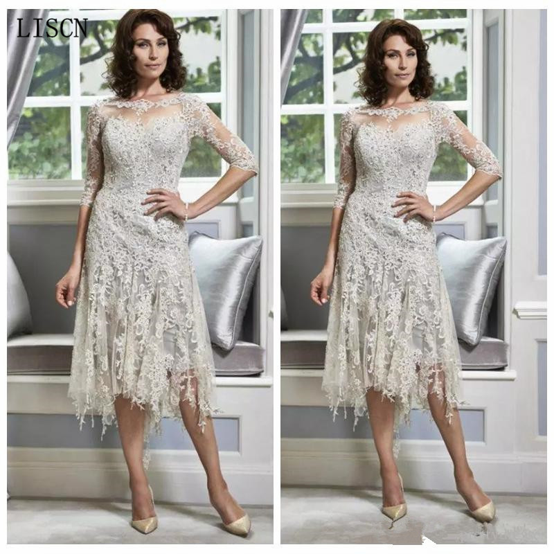 Robe De Soiree Elegant Mother Of The Bride Dresses Plus Size Tassel 3/4 Long Sleeves Lace Appliques A-Line Vintage Vestido Guest