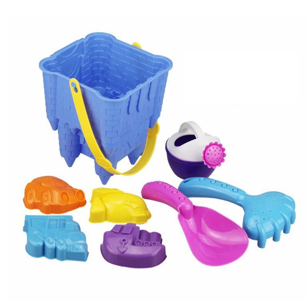 8PCS Plastic Sand Beach Beach Castle Bucket Spade Shovel Rake Water Tools Kids Toys Best Gift For Children
