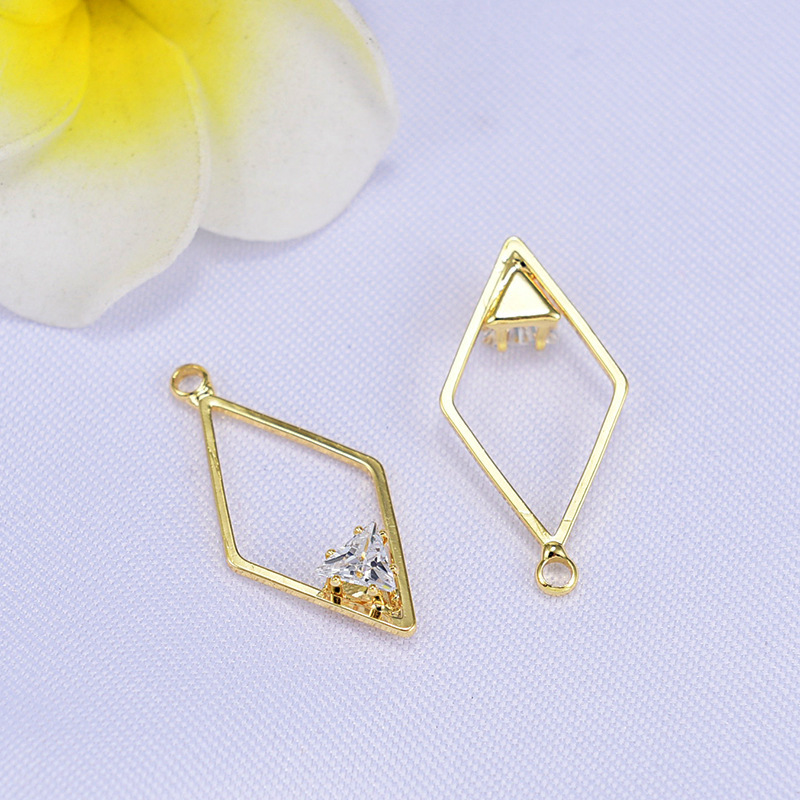 (117) 6PCS 14x27MM 24K Gold Color Plated Brass Diamond with Zircon Pendants Charms High Quality DIY Jewelry Making Findings