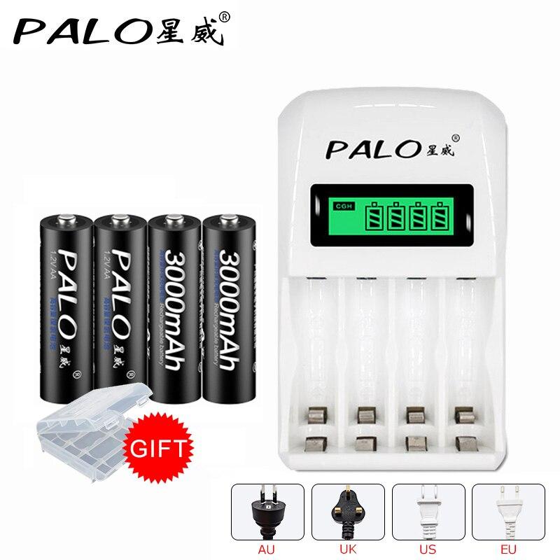 PALO C907W с 4 слотами Интеллектуальный ЖК-дисплей зарядное устройство для AA AAA NiCd NiMh с 4*3000mAh AA перезаряжаемые батареи