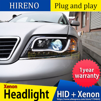 Car Styling for Audi A6 LED Headlight 1997-2004 LED Headlight DRL Lens Double Beam H7 HID Xenon bi xenon lens