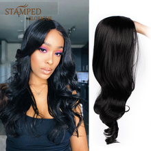 цена на Stamped Glorious 24inches Black Long Wig Middle Part Water Wave Wig Synthetic Wigs for Black Women Heat Resistant Fiber Hair