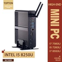 Topton Nuc безвентиляторный ПК Мини компьютер Intel Core i7 8550U/7560U i5 8250U/7260U 2* DDR4 M.2+ Msata+ 2,5 ''SATA 4K HTPC неттоп HDMI DP