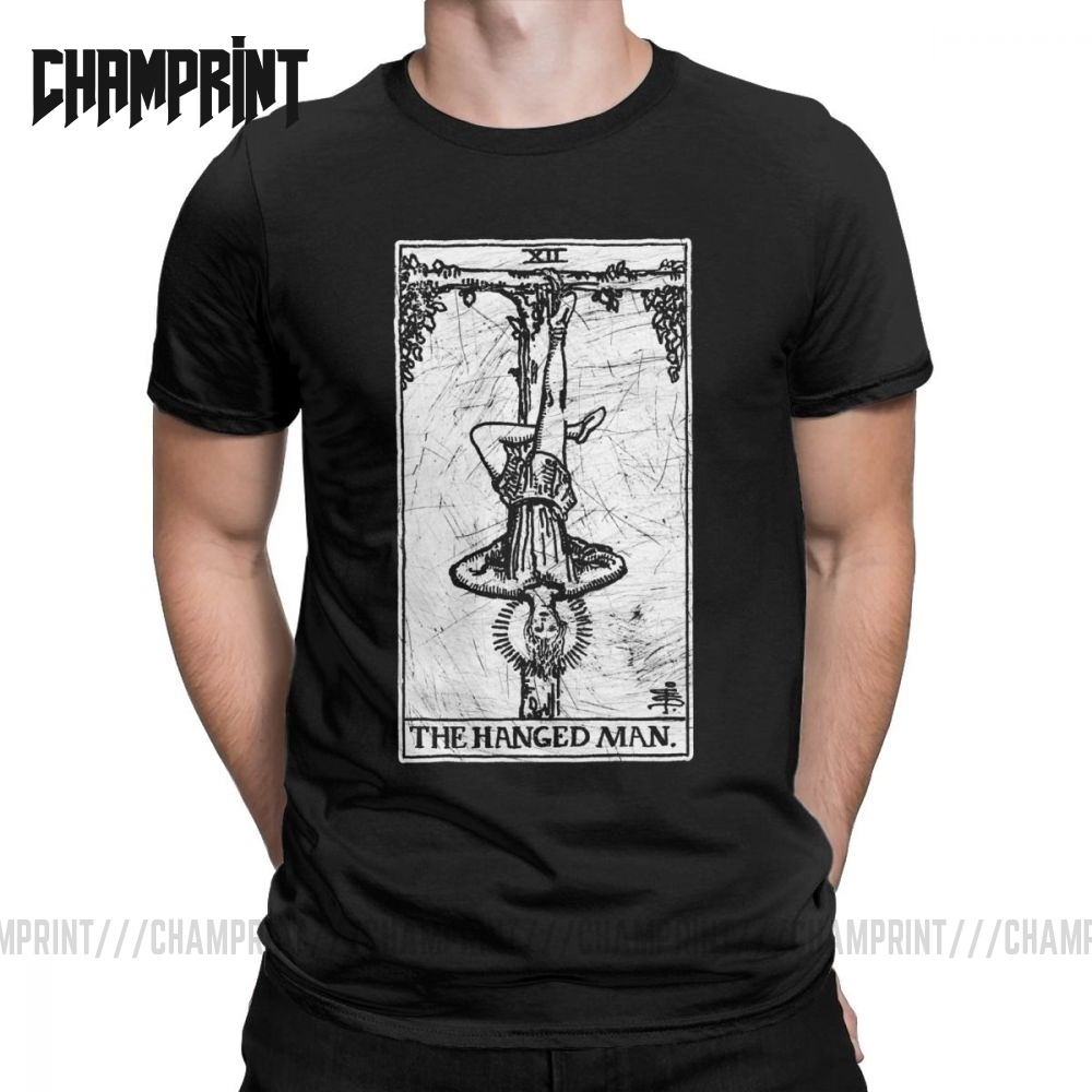 Men's The Hanged Man Tarot Card Major Arcana Fortune Telling Occult T Shirts Pure Cotton Short Sleeve Tee Shirt Present T-Shirts